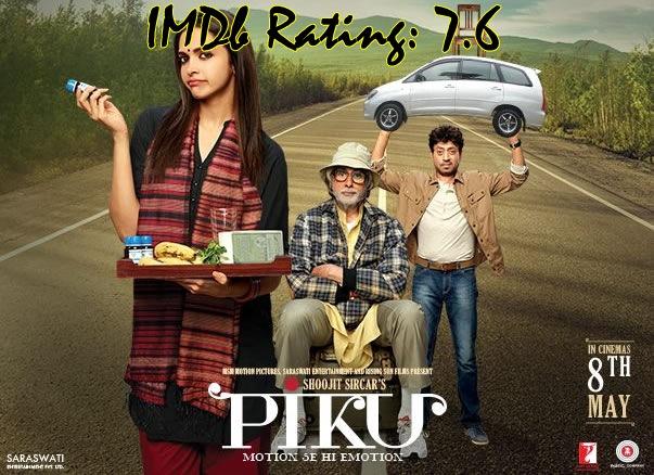 Top 10 IMDb Rated Movies of Deepika Padukone - Piku