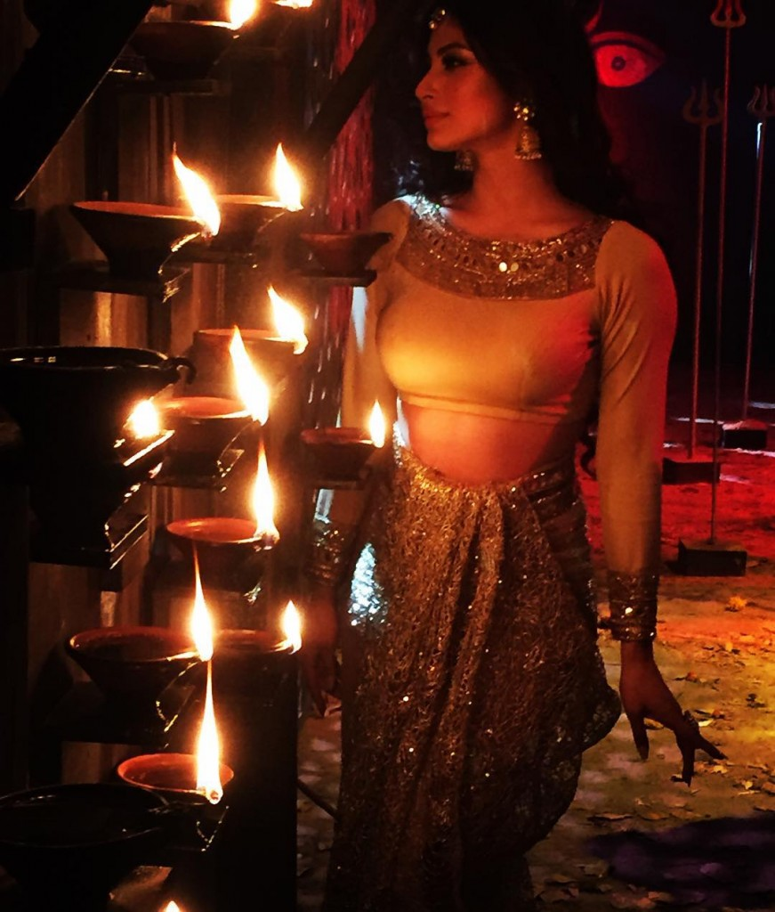 Mouni on the sets of Naagin