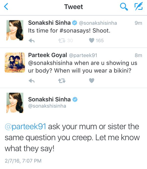 A Fan Asked Sonakshi Sinha To Wear A Bikini And She Strike Back With A Bang