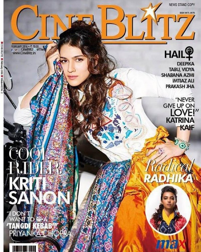 'Cool Rider' Kriti Sanon is the cover girl of CineBlitz Magazine March issue- kriti