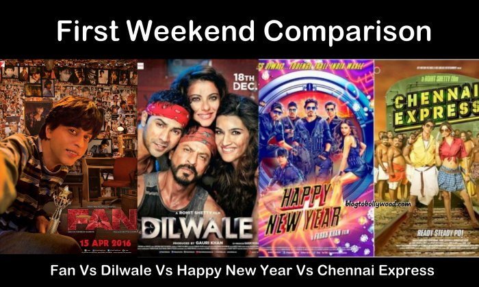 Fan Vs Dilwale Vs Happy New Year Vs Chennai Express : First Weekend Collection