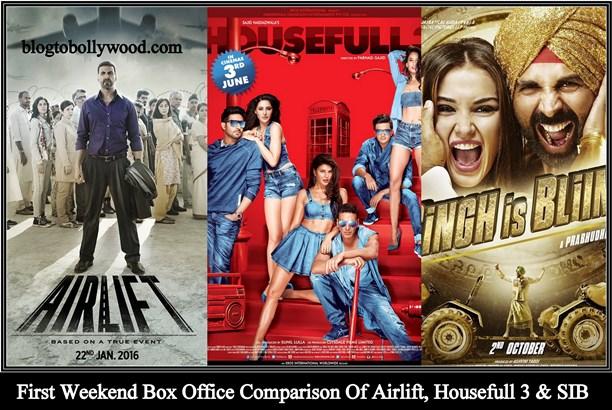 Housefull 3 Vs Airlift Vs Singh Is Bling Vs Rowdy Rathore Vs Gabbar Is Back Box Office Collection