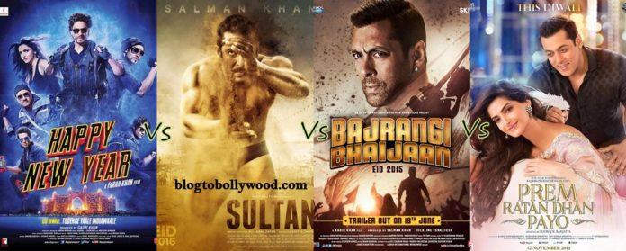 Sultan Vs Happy New Year Vs Bajrangi Bhaijaan Vs Prem Ratan Dhan Payo Box Office Collection