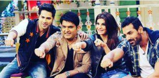 Varun, John, Jacqueline and Kapil Sharma on sets of TKSS