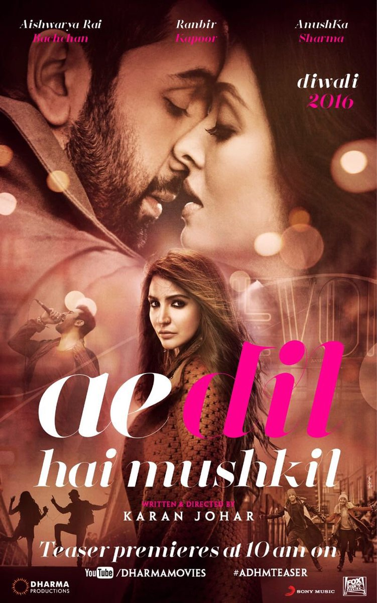 Ae Dil Hai Mushkil First Look Posters - Ranbir and Aish