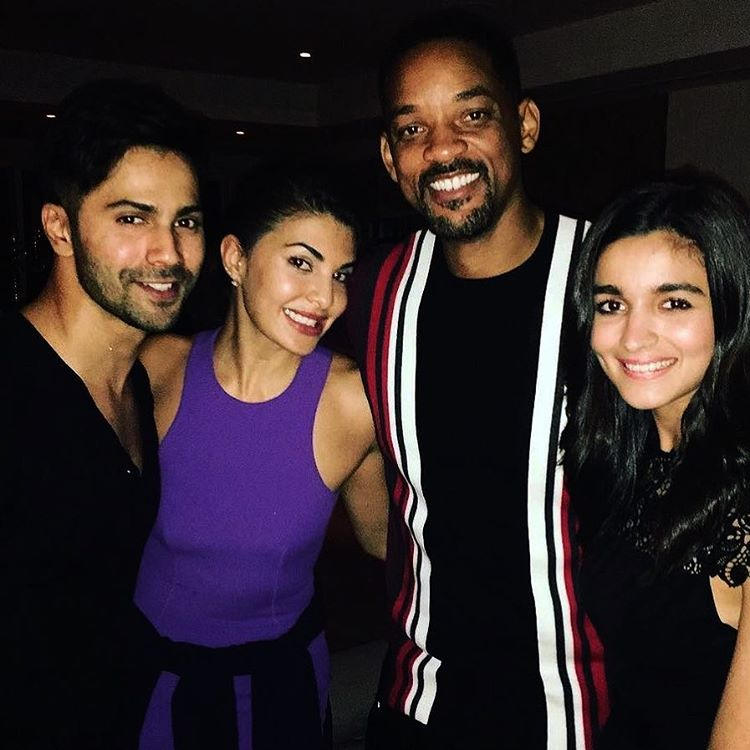 Alia, Jacqueline and Varun with Will Smith