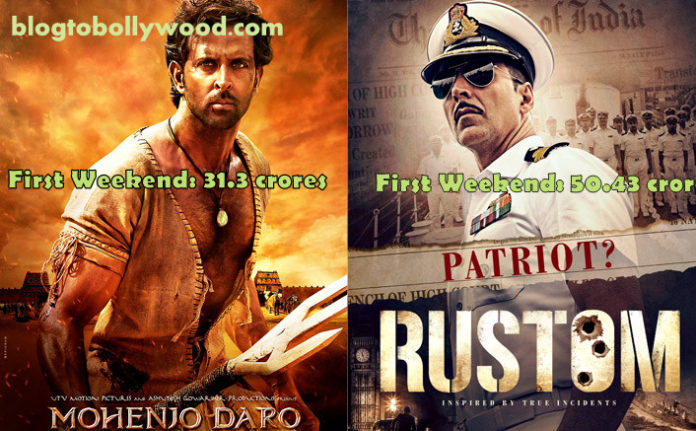 Rustom Vs Mohenjo Daro First Weekend Box Office Comparison