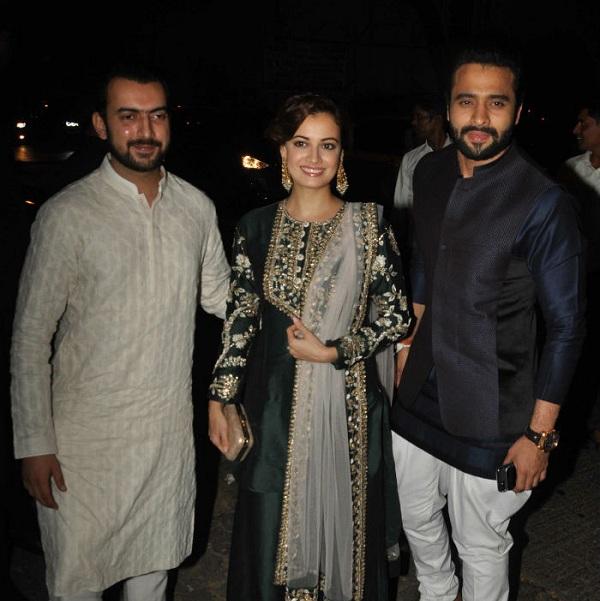 Dia Mirza with husband Sahil Sangha and Jacky Bhagnani