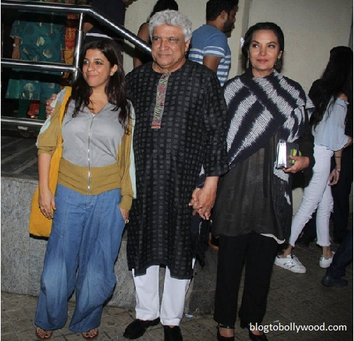 Zoya Akhtar with parents Javed Akhtar and Shabana Azmi