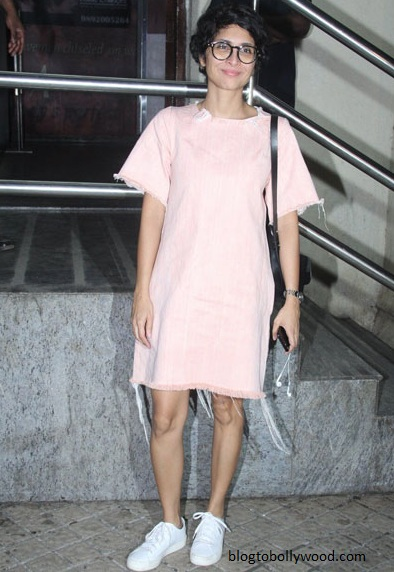 Kiran Rao looks cute in a pale pink dress and sneakers