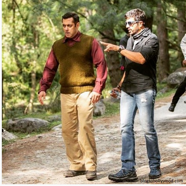 Salman Khan with director Kabir Khan on the sets of 'Tubelight' in Manali