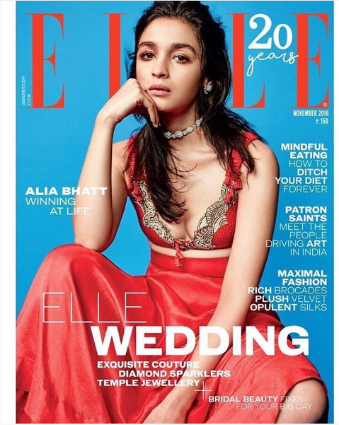 Alia Bhatt looking red hot on ELLE magazine's November Issue Cover