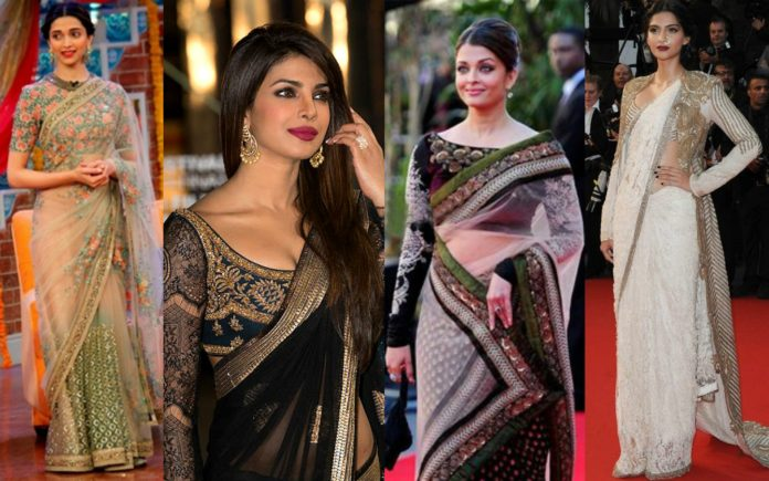 Bollywood actresses in sarees