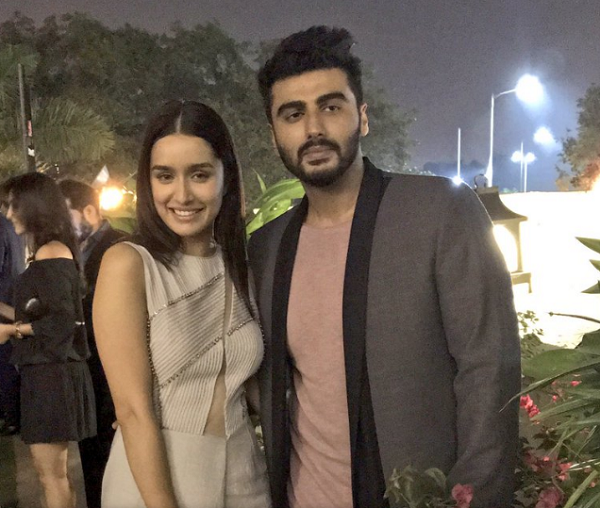Half-girlfriend co-stars Shraddha Kapoor and Arjun Kapoor at the bash last night