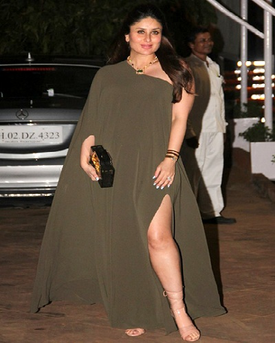 Kareena rocks a thigh-high slit dress with killer heels
