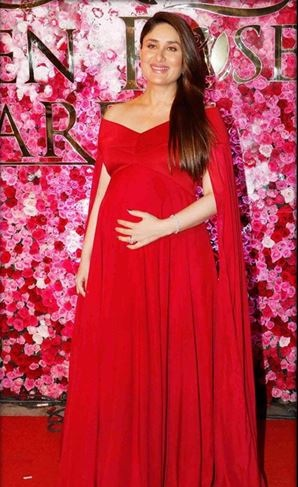 Kareena in Gauri and Nainika bold red gown