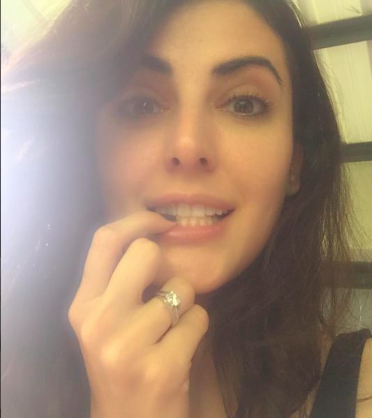 Mandana Karimi Displaying Her Diamond Ring