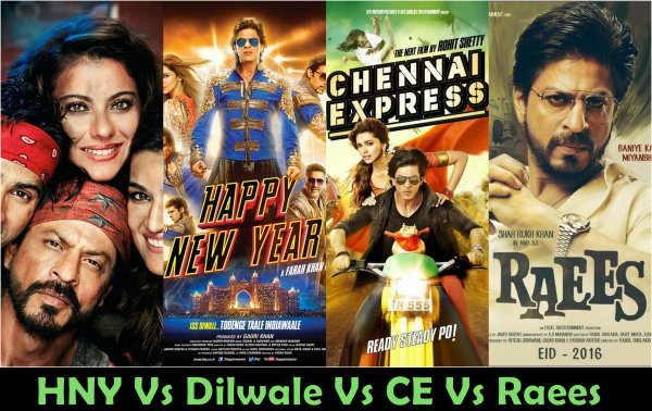 Raees Vs Dilwale Vs Happy New Year Vs Chennai Express Box Office Collection