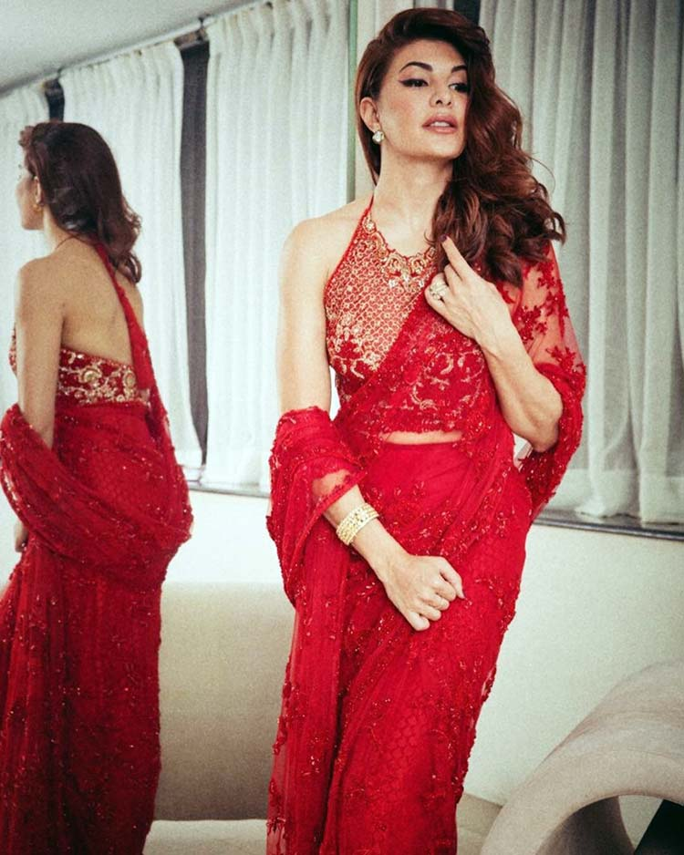 Jacqueline Fernandez hot in red saree