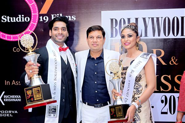 Bollywood Mr and Miss India 2017 Sarthak Verma and Praveena Bhalla with Yash Ahlawat - Founder Studio 19 Films