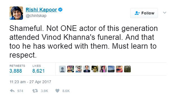 Rishi Kapoor's tweet on newbie actors not attending Vinod Khanna's funeral