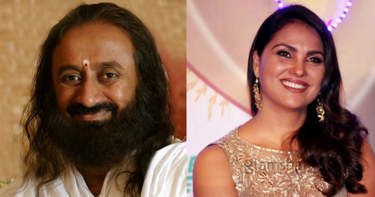 Lara Dutta and Sri Sri Ravi Shankar