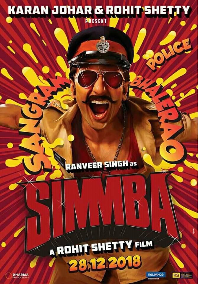 Simmba first look poster feat. Ranveer Singh