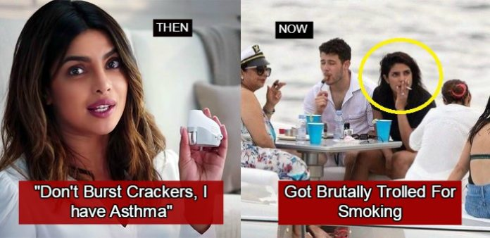 Twitterati Are Calling Priyanka A 'Hypocrite' For Smoking, Reminds Her Of Being 'Asthmatic'