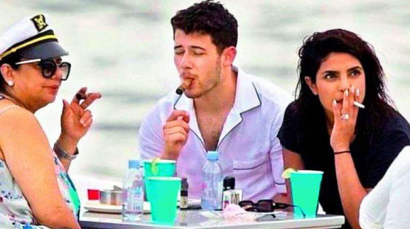 Priyanka smoking with Hubby Nick and mother Madhu