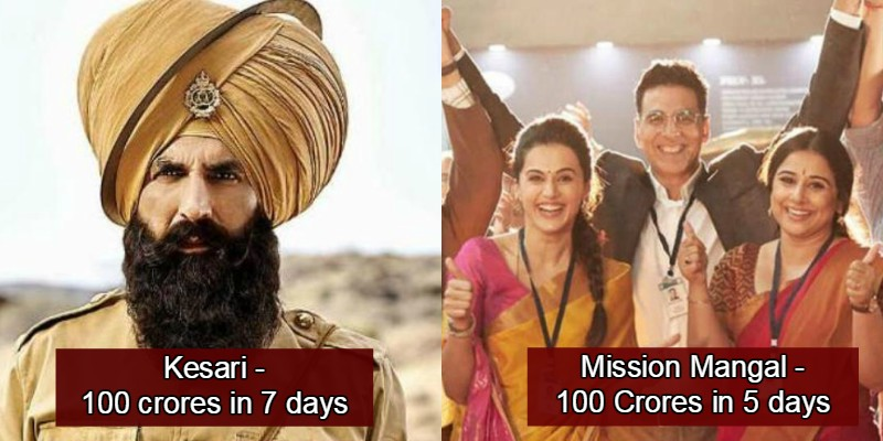 Mission Mangal Becomes Akshay Kumar's Fastest Movie To Enter 100 Crore Club