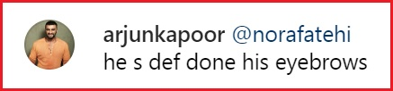 Screenshot of Arjun Kapoor's comment on Varun Dhawan's Instagram Post