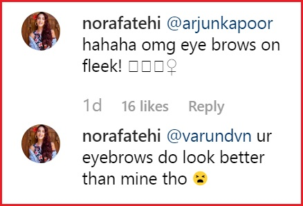 Screenshot of Nora Fatehi's comment on Varun Dhawan's Instagram Post
