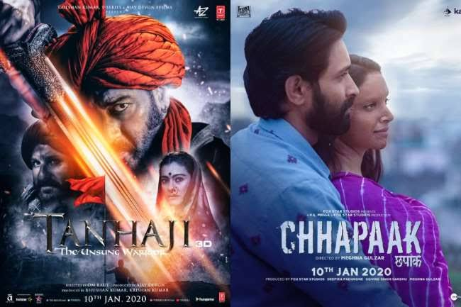 Chhapaak, Tanhaji Budget, Screen Count & 1st day Collection Estimates